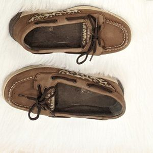 Sperry Brown Cheetah Print Girl's Boat Shoes